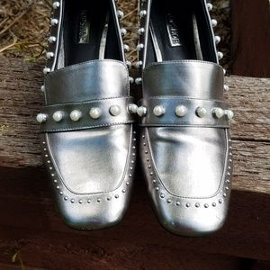 Topshop metallic silver loafers